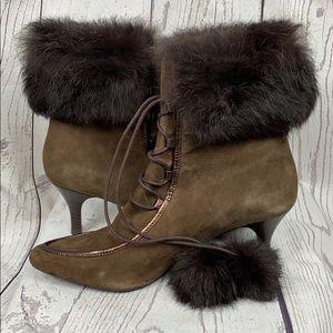 ROCKPORT Leather Faux Fur Cuff Pom Pom Heel Boots